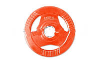 Фитнес памп (блины обрезиненные с хватом для штанги BP3031) 30мм 1,25кг PL26-1,25 (отв. d-30мм,крас)