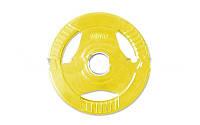 Фитнес памп (блины обрезиненные с хватом для штанги BP3031) 30мм 2,5кг PL26-2,5 (отв. d-30мм,желтые)