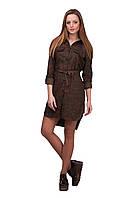 Модное женское платье-рубашка с поясом, с цветочным принтом