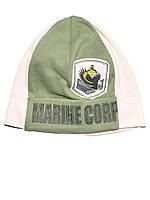 Детская шапочка (Зеленый с бежевым )