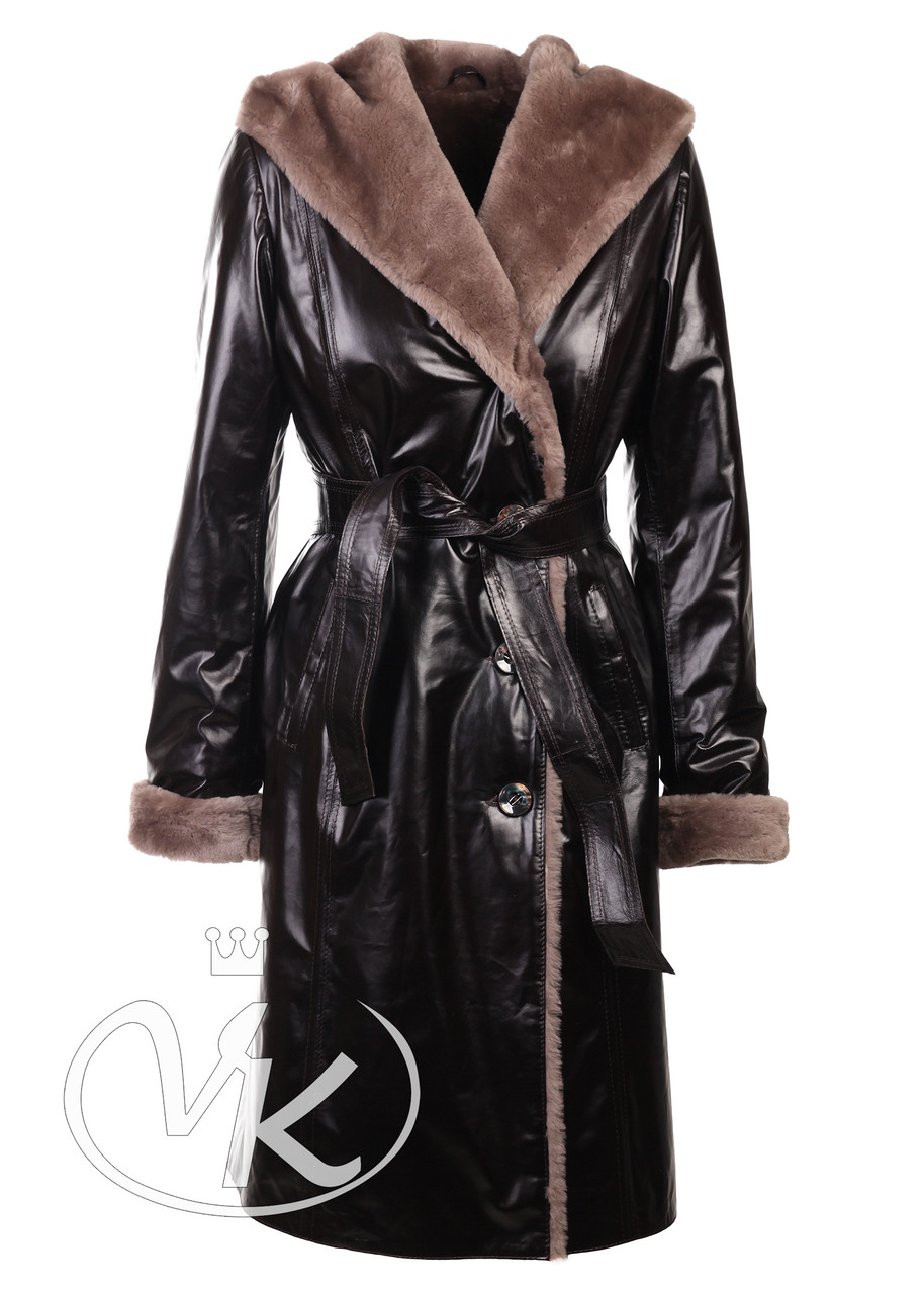 Дубленка халат с капюшоном натуральная длинная женская (Арт. ZAR101)