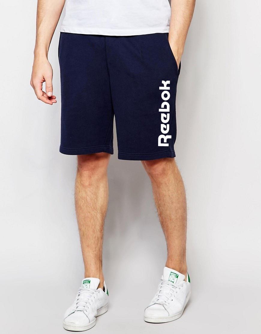 Мужские шорты Reebok т. синие с большим принтом