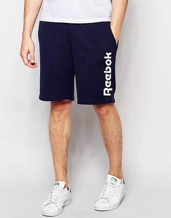 Чоловічі шорти Reebok т. сині з великим принтом, фото 2