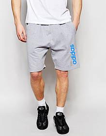 Мужские шорты Adidas серые с большим принтом