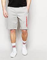 """Мужские шорты """"Jordan"""" серые с красным принтом"""
