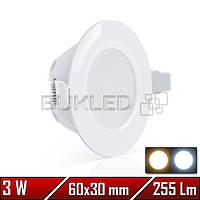 Светильник LED  врезной круглый  SDL, 220 В, 3 Вт, Белый