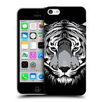 Пластиковый чехол для iPhone 5C узор Черно-белый тигр