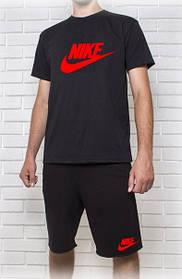Мужской летний комплект Nike черный с красным принтом (шорты + футболка)