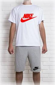 Мужской летний комплект Найк с принтом (шорты + футболка)