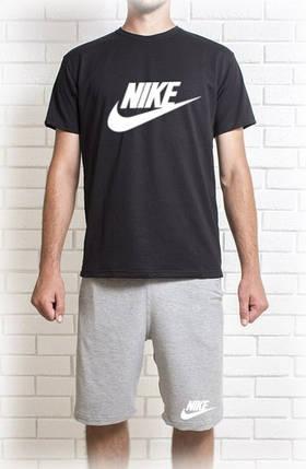 Мужской летний комплект Nike с белым принтом (шорты + футболка), фото 2