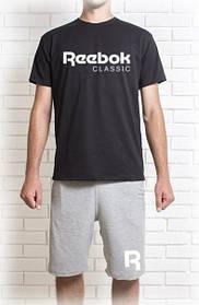 Мужской летний комплект Reebok c принтом (шорты + футболка)