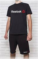Мужской летний комплект Reebok черный (шорты + футболка)
