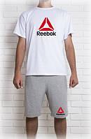 Мужской летний комплект с принтом Рибок (шорты + футболка)