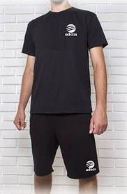 Мужской летний комплект Adidas черный (шорты + футболка)