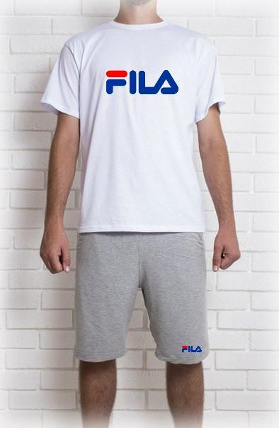 Мужской летний комплект с принтом FILA (шорты + футболка)