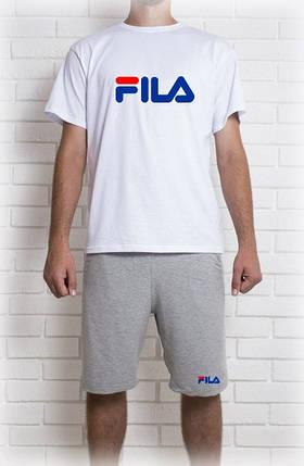 Мужской летний комплект с принтом FILA (шорты + футболка), фото 2