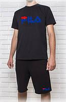 Мужской летний комплект FILA с синим принтом (шорты + футболка)