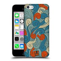 Пластиковый чехол для iPhone 5C узор Волны голубые