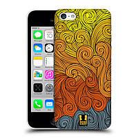 Пластиковый чехол для iPhone 5C узор Волны оранжевые