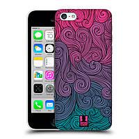 Пластиковый чехол для iPhone 5C узор Волны розово-лиловые