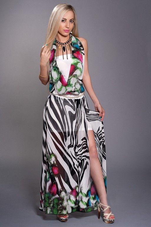 14f835a8682 Красивое шифоновое женское летнее платье-двойка с принтом. - Exclusive в  Хмельницком