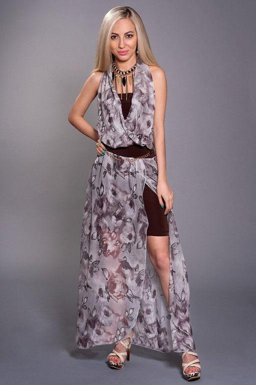 eb86203c8bb Шифоновое модное женское летнее платье-двойка с принтом.  продажа ...