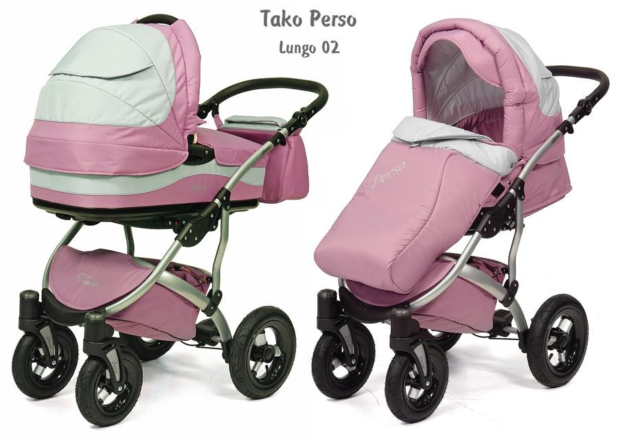 Коляска 2 в 1 Tako Perso Lungo 02 розовый
