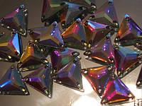 Стразы пришивные Треугольники 16мм. Акрил Crystal AB