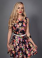 Красивое модное женское летнее платье цветочной расцветки р.44