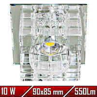 Софит светодиодный 10 Вт, квадрат прозрачный