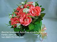 """Ручной букет коралловых роз из raffaello """"Утонченность""""№7-коралловый, фото 1"""