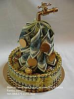 """Подарок из сувенирных денег и конфет ferrero rocher""""Денежный кран""""диаметр 23см"""