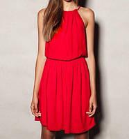 Платье женское короткое шифоновое без рукавов P2328
