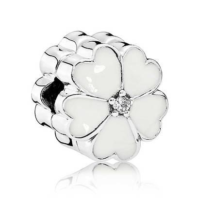 Клипса из серебра «Белая примула» в стиле Pandora