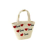 Соломенная сумка Корзина с сердечками