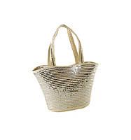 Соломеная сумка Корзина в полоску