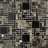 Мозаика микс мрамор со стеклом Vivacer RS76 коричневая