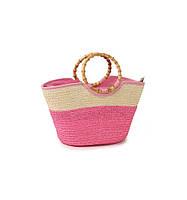 Соломеная сумка Корзина розовая
