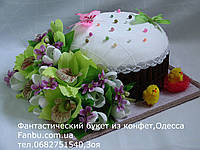 Большая конфетная пасха с орхидеями