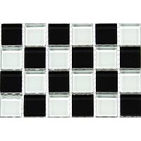 Мозаика для стен шахматка черно-белая Vivacer MixC013