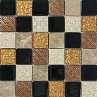 Мозаика с узором из натурального камня Vivacer Mix Bronze