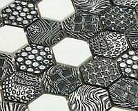 Черная мозаика с узором из натурального камня Vivacer SB02