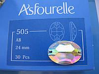 Стразы пришивные Asfour Овал 24мм. Crystal AB