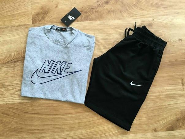 Мужской летний комплект с принтом Nike/Найк (шорты + футболка)