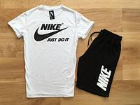 Мужской летний комплект Найк джаст ду ит (шорты + футболка)
