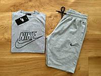Мужской летний комплект Nike серый (шорты + футболка)