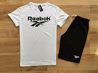 Мужской летний комплект Reebok (шорты + футболка) с черным принтом