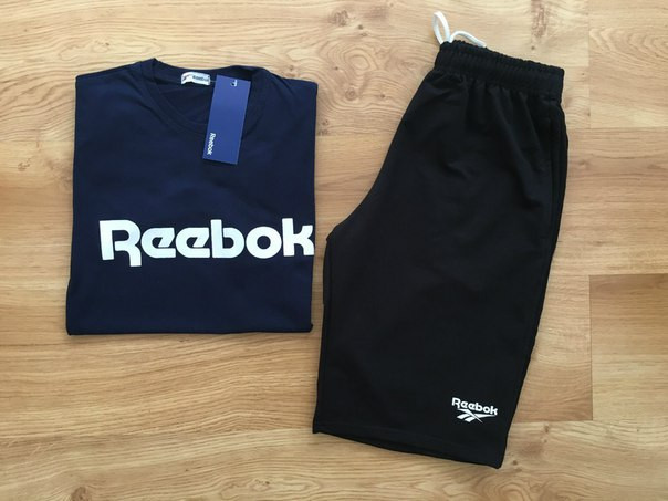 Мужской летний комплект Reebok (шорты + футболка) Все размеры