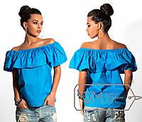Блузка яркая женская летняя украшена воланами