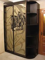 Шкаф-купе с пескоструем на зеркале бронза, фото 1